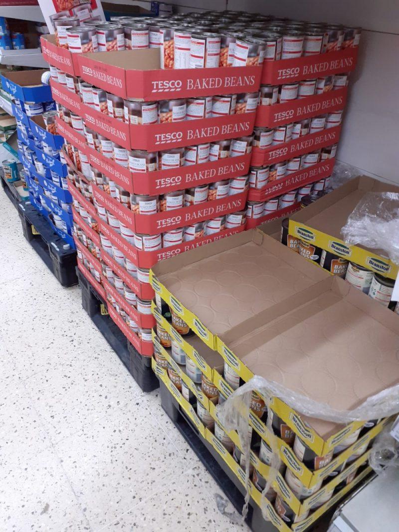 Bare supermarket shelves in Birmingham amid coronavirus panic buying