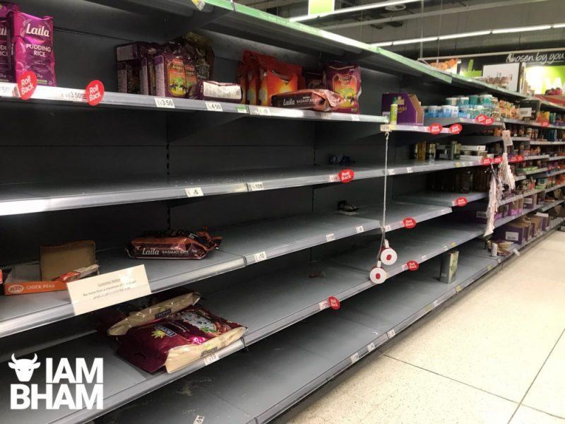Empty shelves in a Birmingham supermarket recently, following panic buying due to coronavirus fears