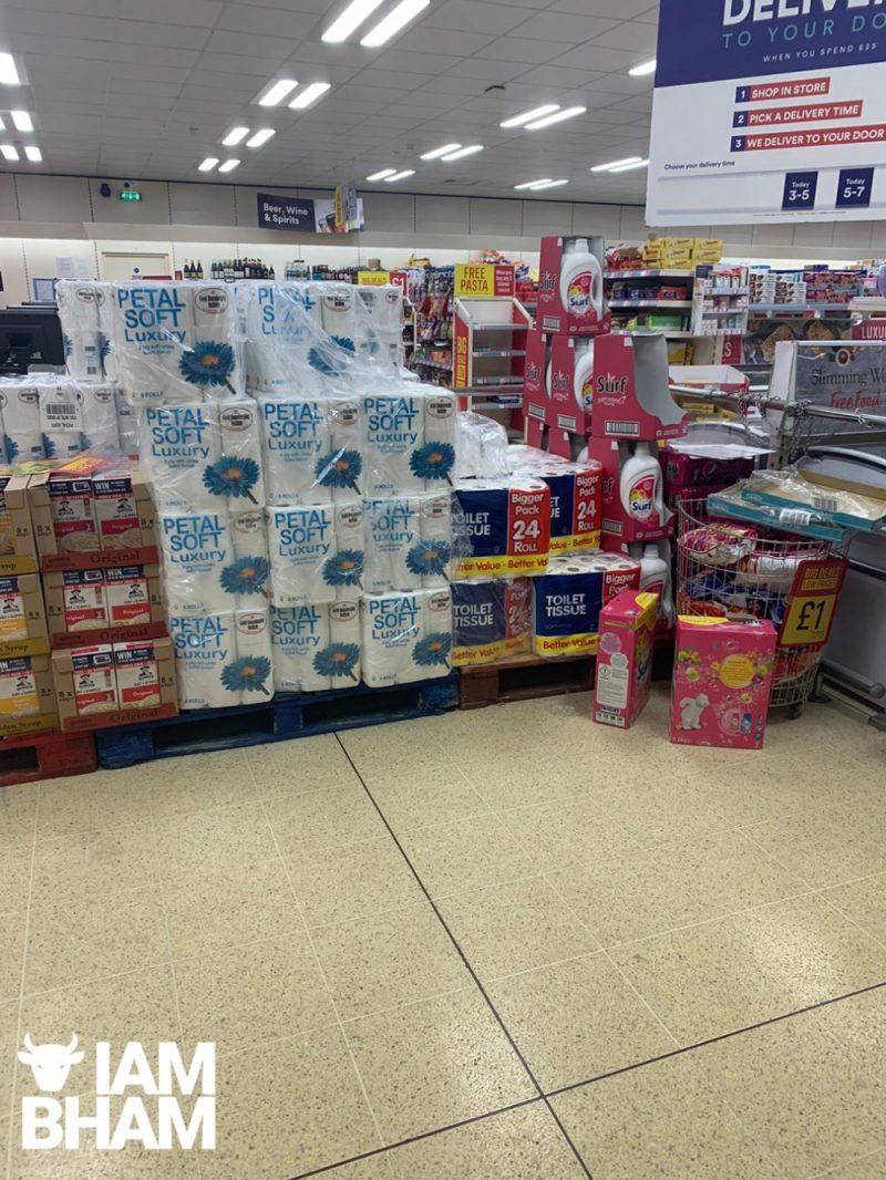 Bare shelves in Birmingham amid coronavirus panic buying