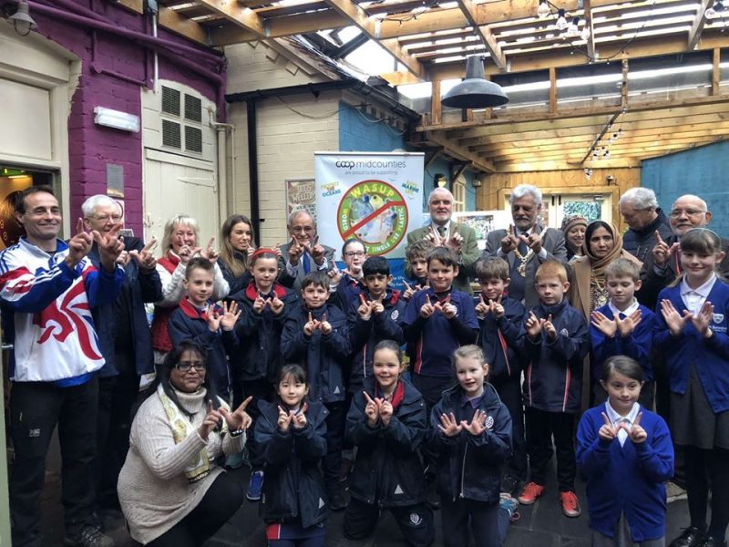 Lord Mayor Allah Ditta, Olympian Andrew Train, Proffesor Abdul Rashid Gatrad OBE, Mohammed Aslam MBE and local school children attend the launch of WASUP to support Isobel