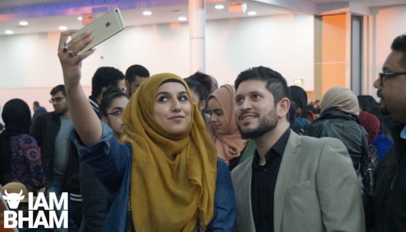 Comedian Abdullah Afzal at a charity event with councillor Mariam Khan before the lockdown
