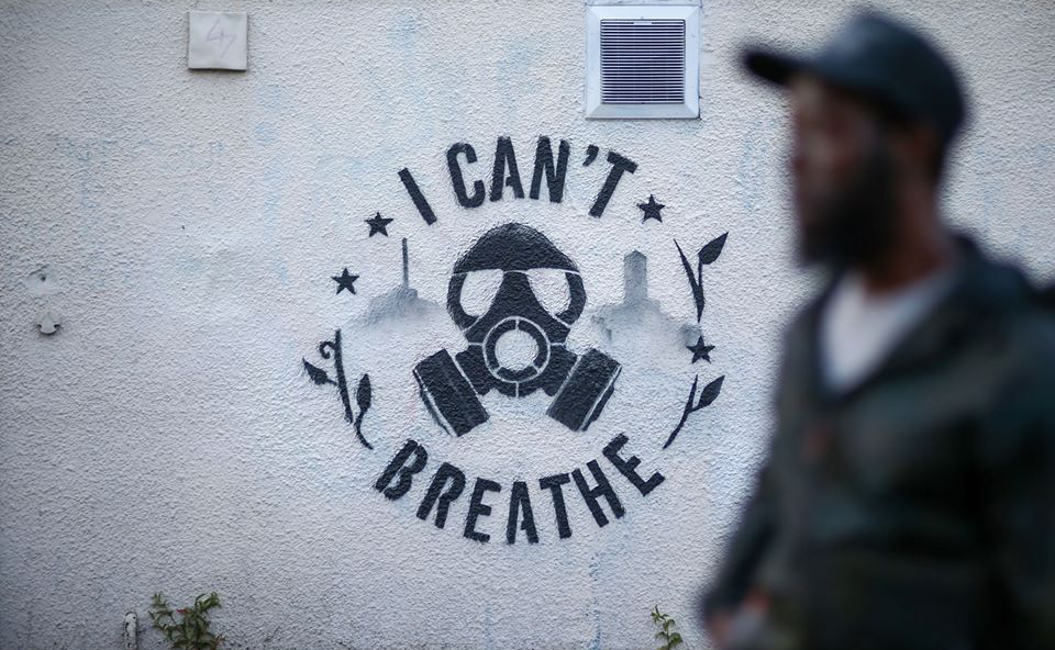 'I can't breathe' street art painted in Birmingham in memory of George Floyd