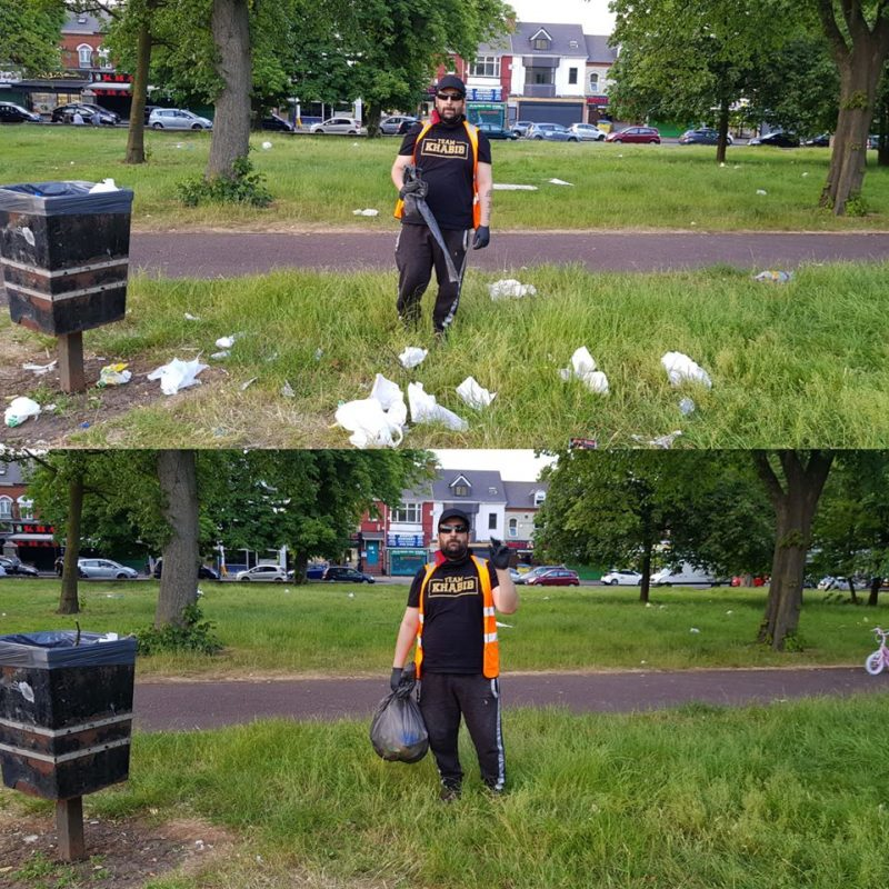 Litter left behind by visitors to Small Heath Park is cleared up by a Waste Warrior