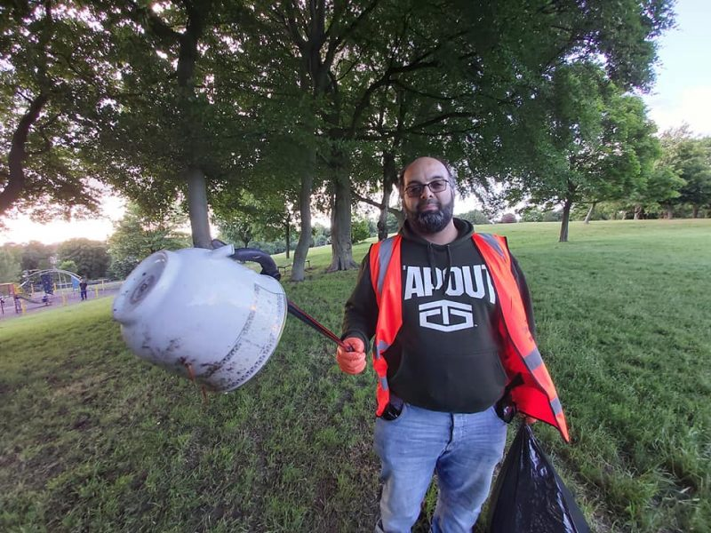 Lots of litter was collected from Ward End Park including plastic cups and a ceramic teacup