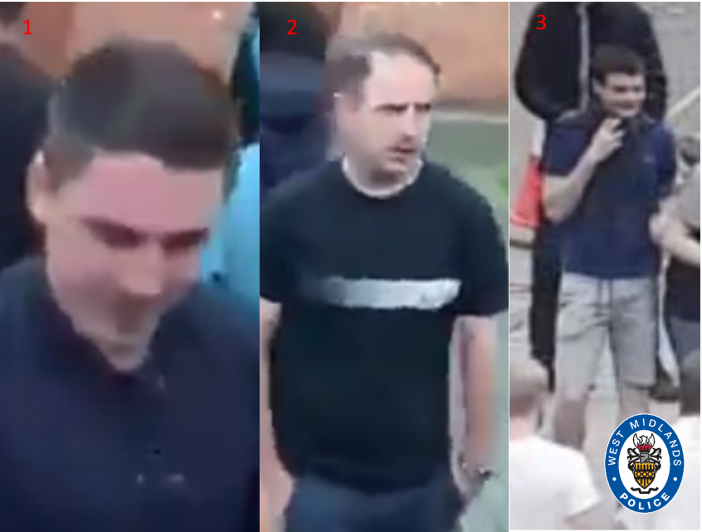 Police have released photos of three suspects in connection with the mob attack on two black men in Coventry
