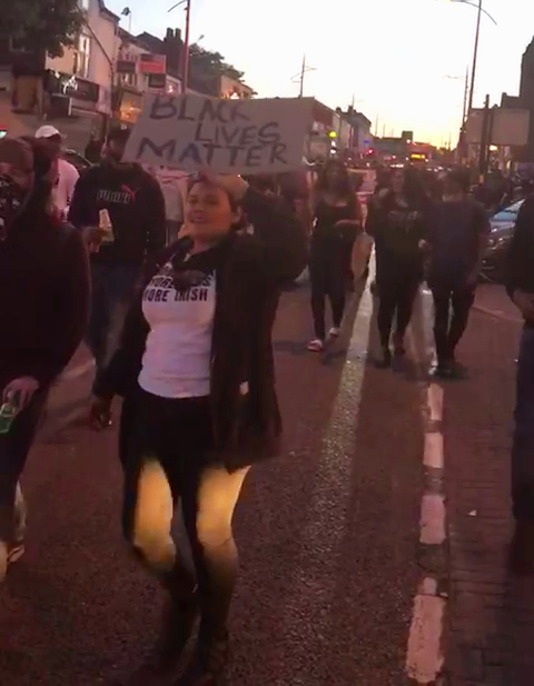 Demonstrators march through Soho Road in solidarity with George Floyd
