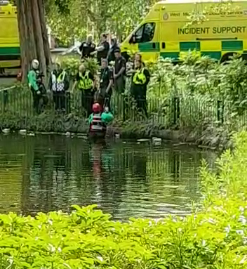Incident Support Teams search the lake inside Small Heath park
