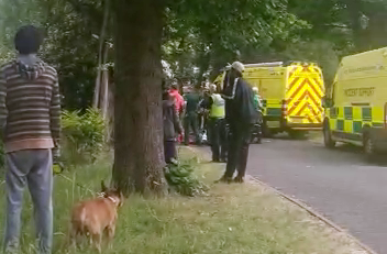 Local residents watch in horror as emergency crews search for a 'dead body'