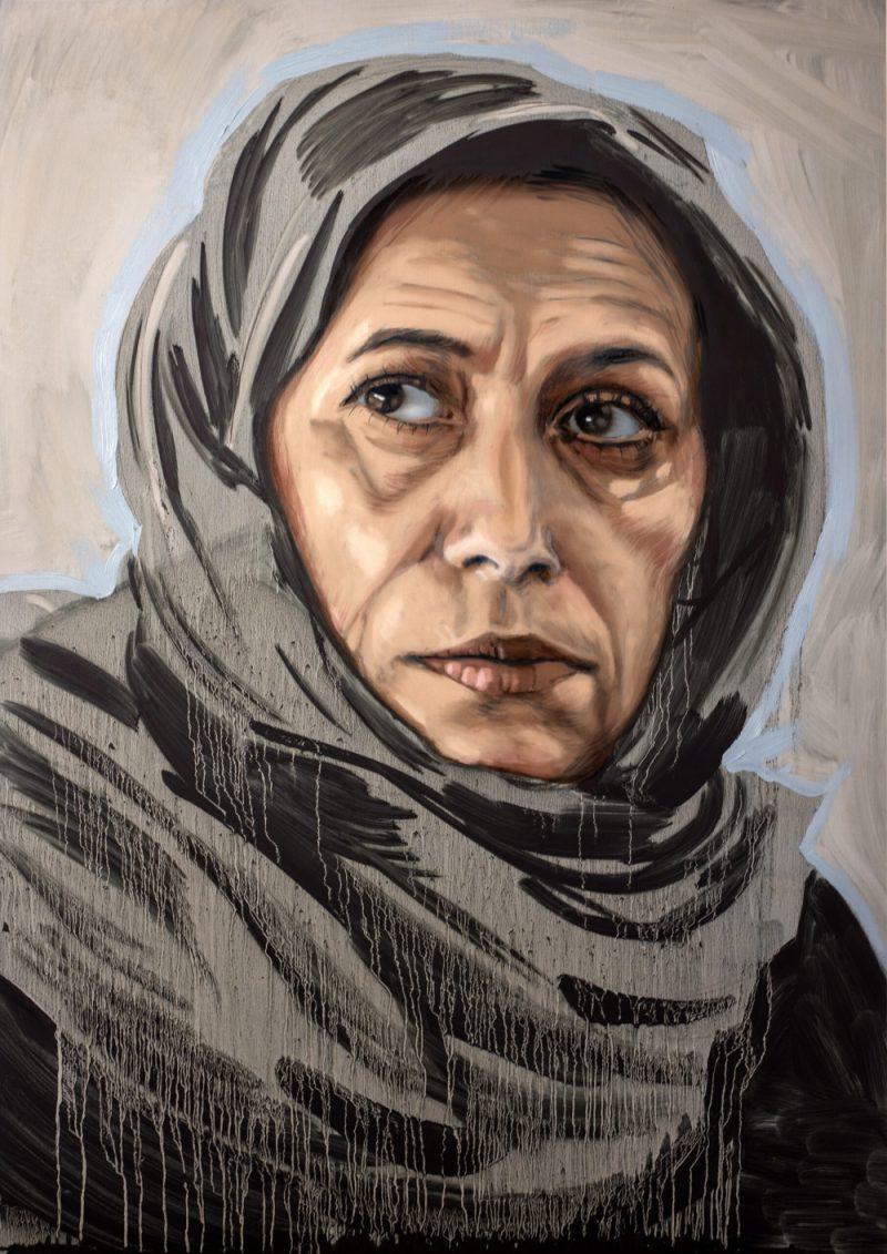 Kadefa Rizvanović, a survivor of the Bosnian Genocide, painted by Ian Campbell
