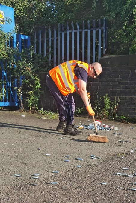 The area outside St. Andrews football ground being cleared