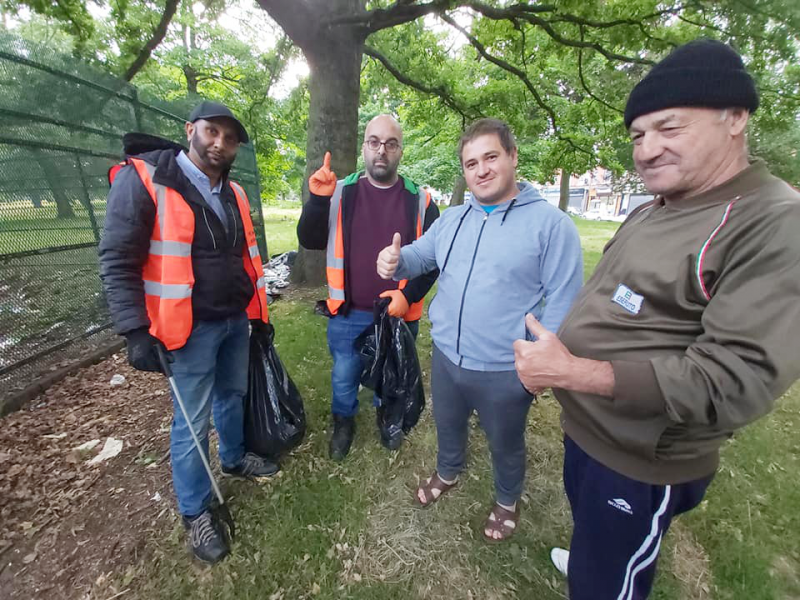 Locals give their 'thumbs up' to the Waste Warriors during the cleanup in Small Heath Park