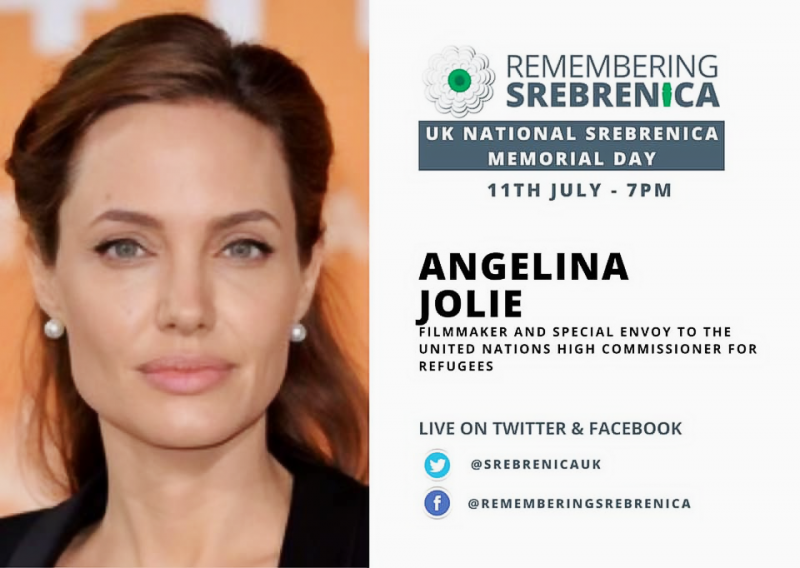 UN Envoy for Refugees Angelina Jolie will deliver the keynote message to remember the Bosnian Genocide