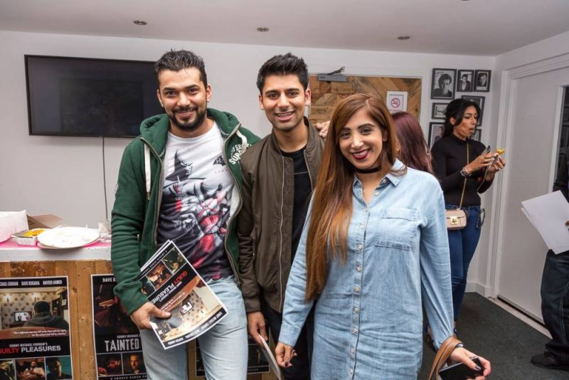 Actor Antonio Aakeel (centre) with cast and crew during the Birmingham premiere of Guilty Pleasures at the Mockingbird Theatre in Digbeth