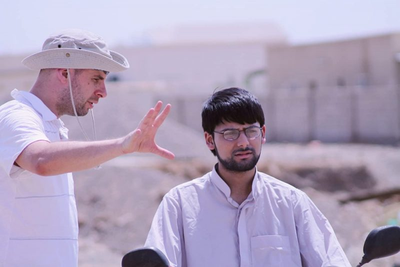 Antonio Aakeel onset in Dubai with Director David Whitney filming 'The Line of Freedom'