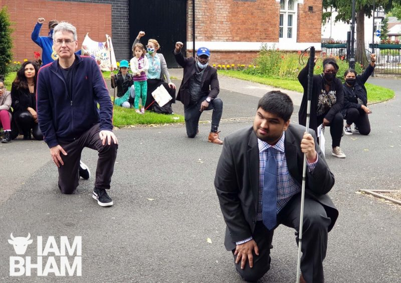 Labour's WMPCC candidate Simon Foster (left) takes a knee to show solidarity with Black Lives Matter