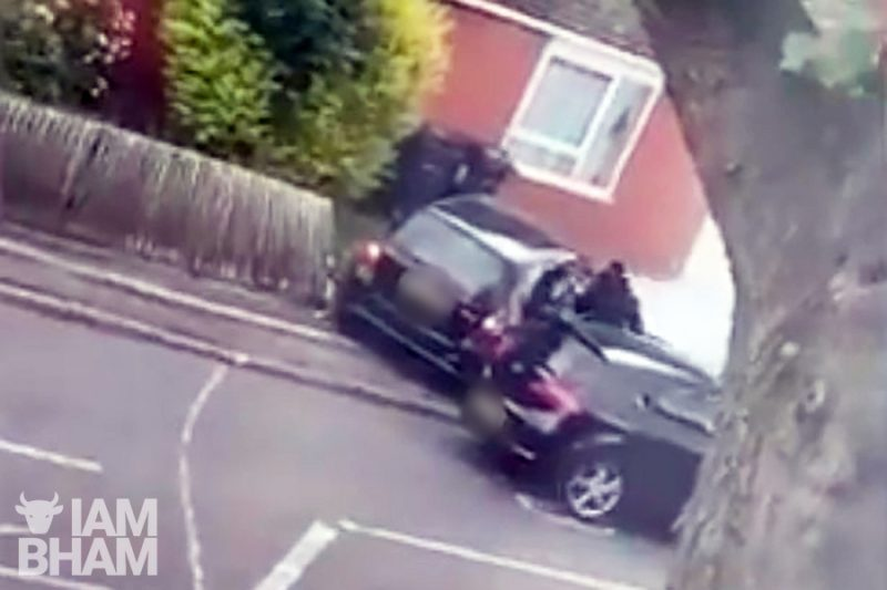 The vicious attack on a man in a crashed car in Slade Road, Erdington, was caught on camera