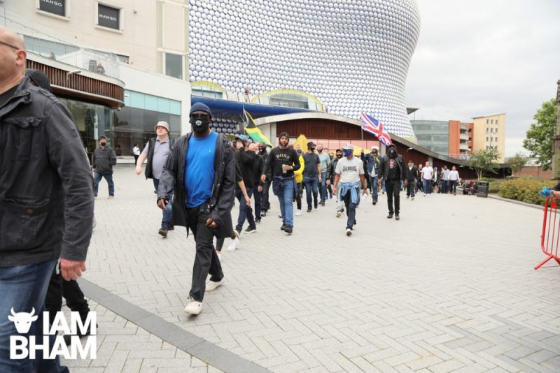 Birmingham City fans hold an anti-racism march in Birmingham city centre, passing the iconic Bullring shopping centre - 04.07.20
