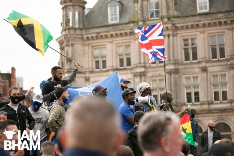 Birmingham City FC fans attend an anti-racism march and rally in Victoria Square on 04.07.20