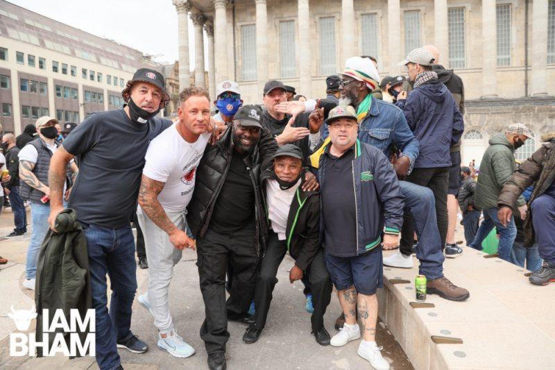 "Birmingham City Fans including Marc Gauntlett, Tyson J Leon, and ""Pop Eye"" at the Birmingham anti-racism march"