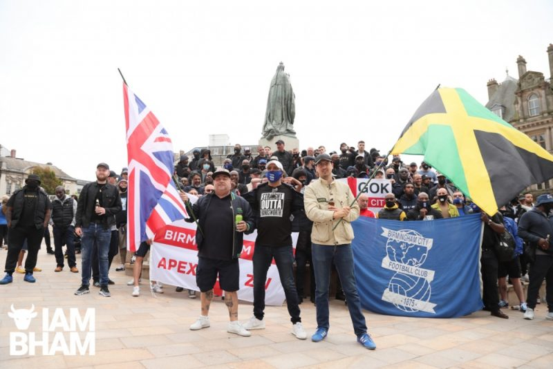 Birmingham City fans at anti-racist march in Birmingham