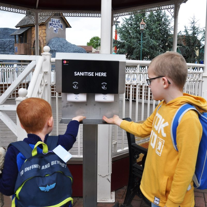 Hand sanitiser stations are in place at Drayton Manor Park
