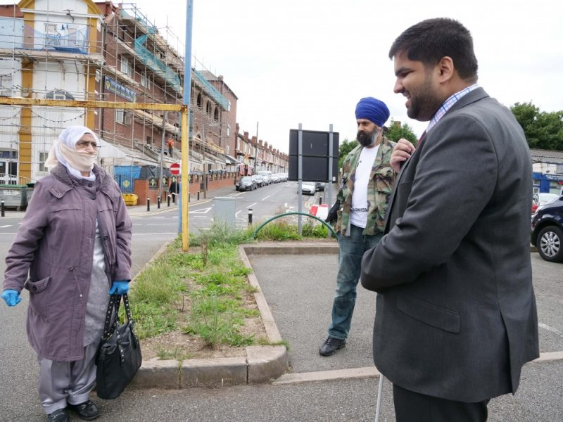 Gurmit Kaur with Harvey Singh (centre) and Sandwell Cllr Ahmad Bostan (right)