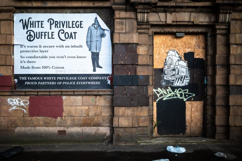 A 'white privilege' poster was spotted pasted on a wall in Bradford Street, Digbeth