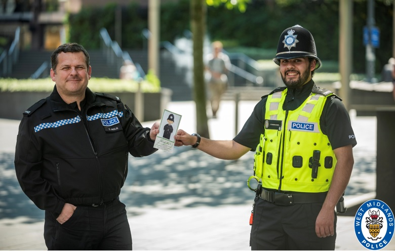 Special Constable Abdullah Imad with PC Dave Inglis of West Midlands Police