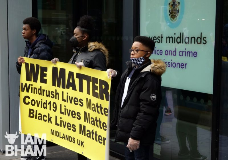 Young people protest outside the West Midlands Police HQ in Birmingham last month