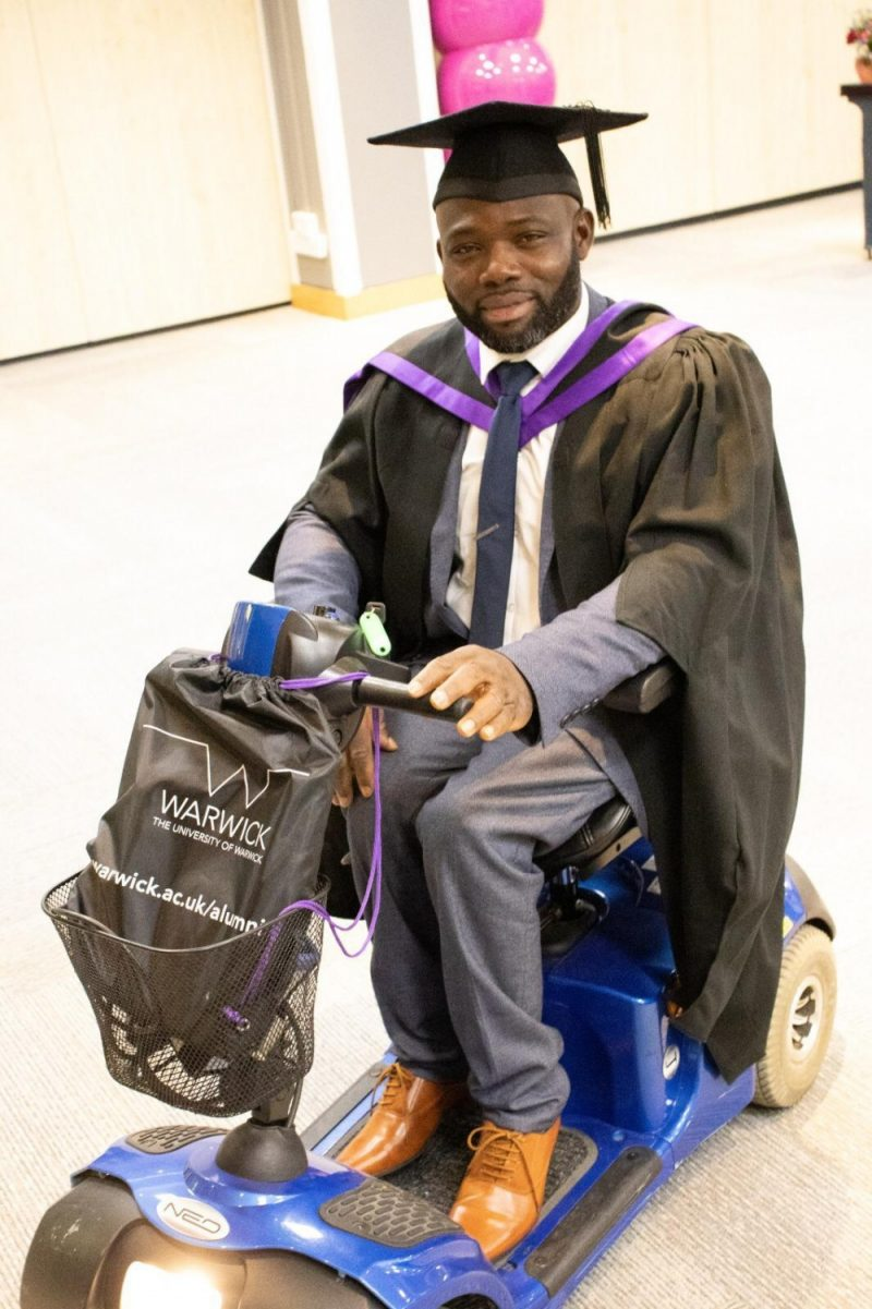 Dickson Tarnongo is a disabled asylum seeker hoping to raise funds to cover student fees and gain his PhD