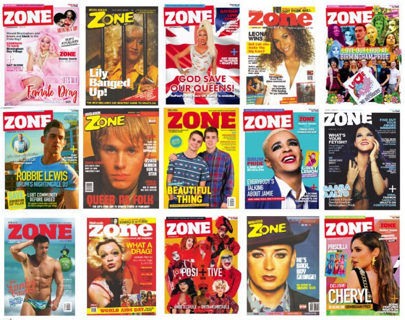 A selection of Midlands Zone magazine covers from between 1997 and 2020