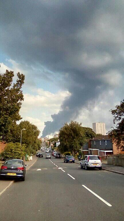 The large plume of black smoke from the Tyseley fire could be seen from across Birmingham, including in the Jewellery Quarter