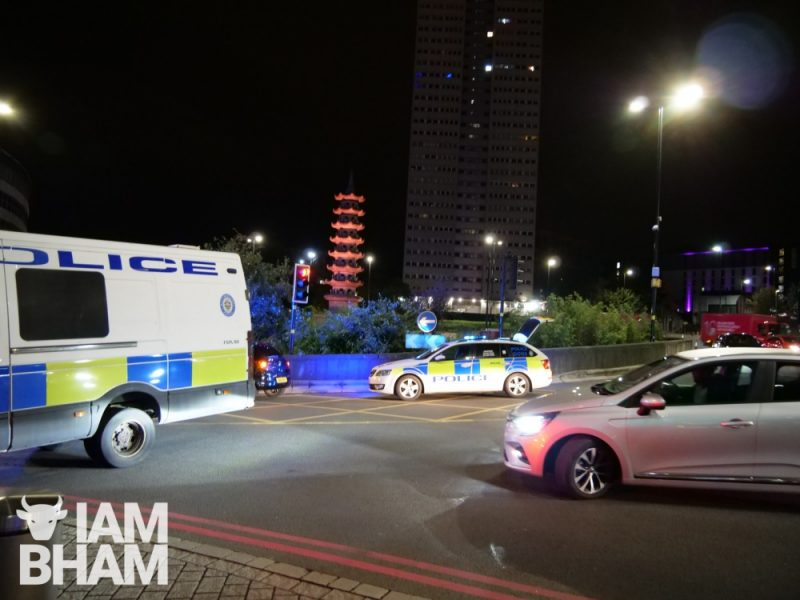 Police cars in Holloway Circus in Birmingham city centre