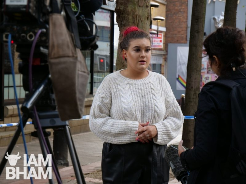 Local bar worker Cara, who has claimed the knife attacks resulted from a brawl she witnessed, speaks to news journalists