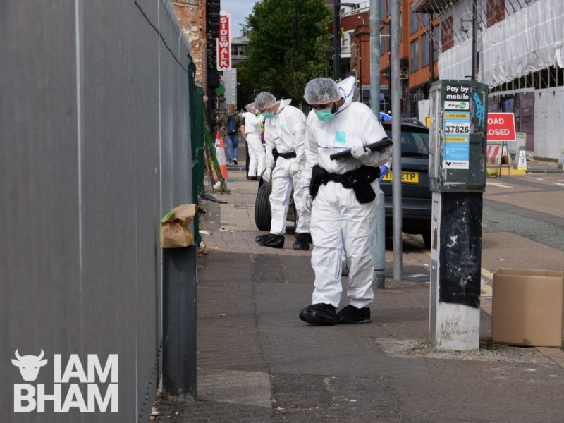 Police forensics scientists search for evidence in Hurst Street, Birmingham