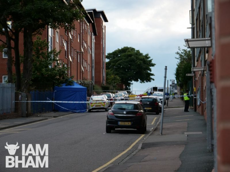 Irving Street in Birmingham city centre sealed off by police after Liverpudlian Jacob Billington, 23, was stabbed and murdered on the road by a knifeman on September 6