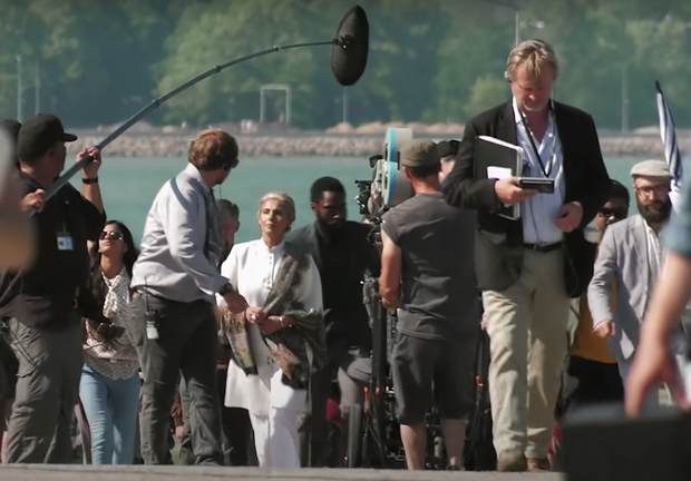 Dimple Kapadia (centre) filming in India with John David Washington and director Christopher Nolan (right)