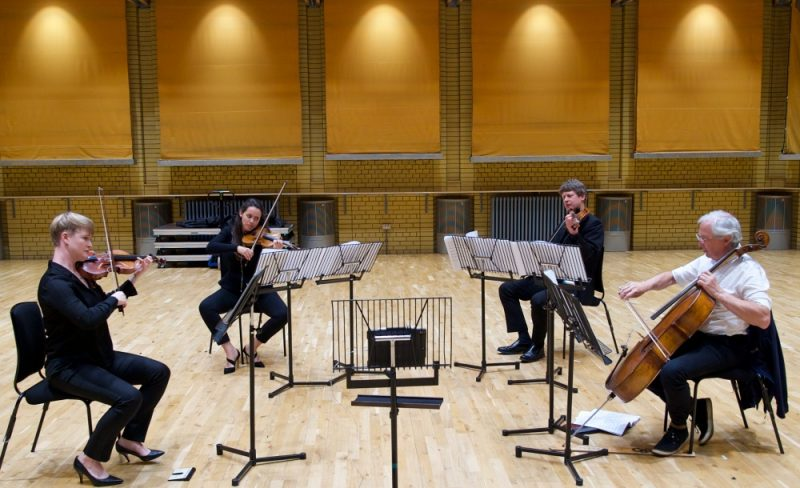 BCMG String Quartet in rehearsal at the CBSO Centre