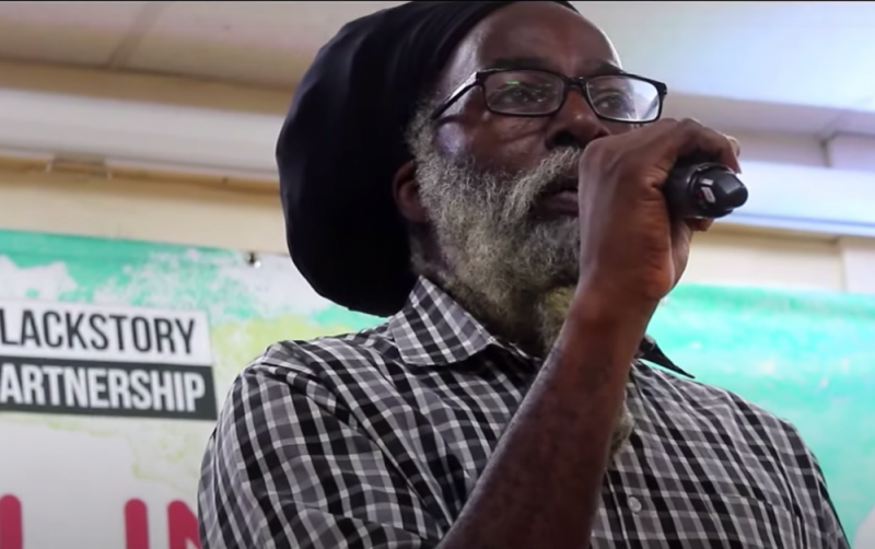 Dub poet Moqapi Selassie performs during the Birmingham Black History Month launch