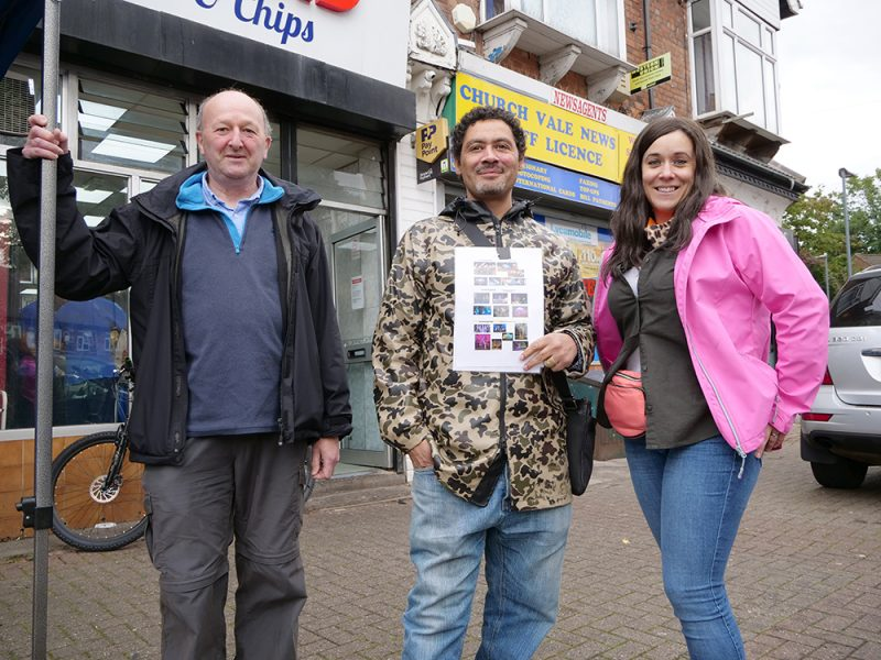 (L-R): Andrew Simons and Russell Green from Birchfield Big Local with and Amy Dalton-Hardy from Punch Records planning for the North Birmingham art commissions