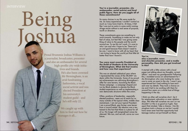Joshua Williams in the October 2020 edition of 'Beyond' magazine for Black History Month