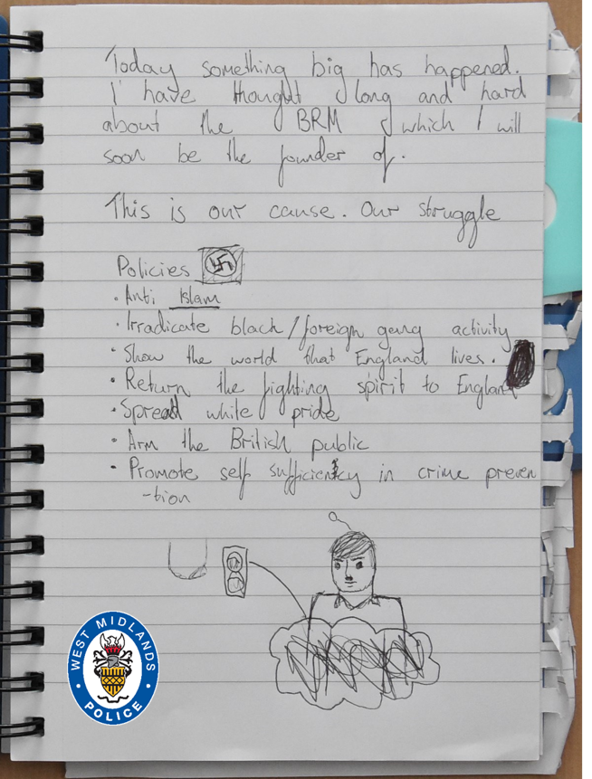 A page from the teenage terrorist's notebook showing his extreme ideology which includes a swastika