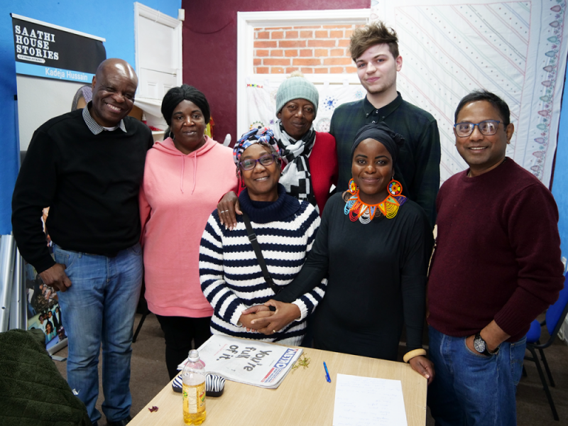 Migrant Voice West Midlands newsroom (L-R): Selbin Kabote, Petrona Clarke, Louise Andrews, Althia Barnett, Ben House, Sazini Malaba and Morshed Akhtar