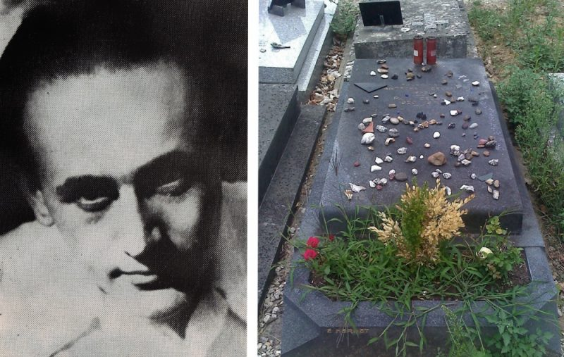 The late Paul Celan (pictured alongside his grave) lost his parents in the Holocaust and used poetry to find healing