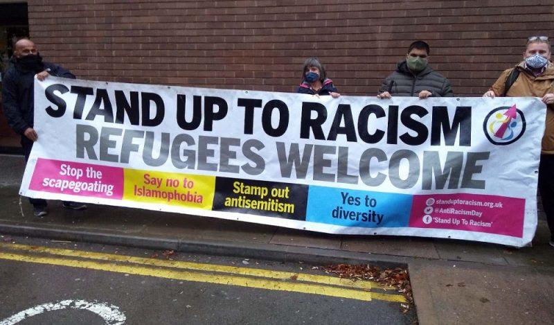 Residents held a solidarity vigil near a Midlands hotel housing asylum seekers