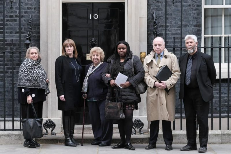 Cllr Sharon Thompson outside Downing Street with Jack Dromey MP to her left
