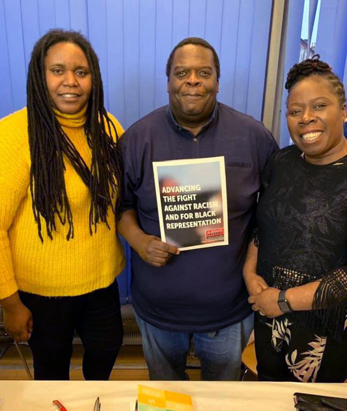 Sharon Thompson with Labour campaigner Michael Thawe and fellow councillor Pauline Hamilton