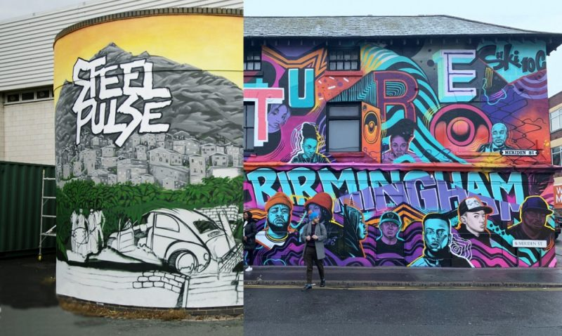 Two previous Birmingham murals commissioned by Punch Records, potentially similar to the planned Saathi House mural