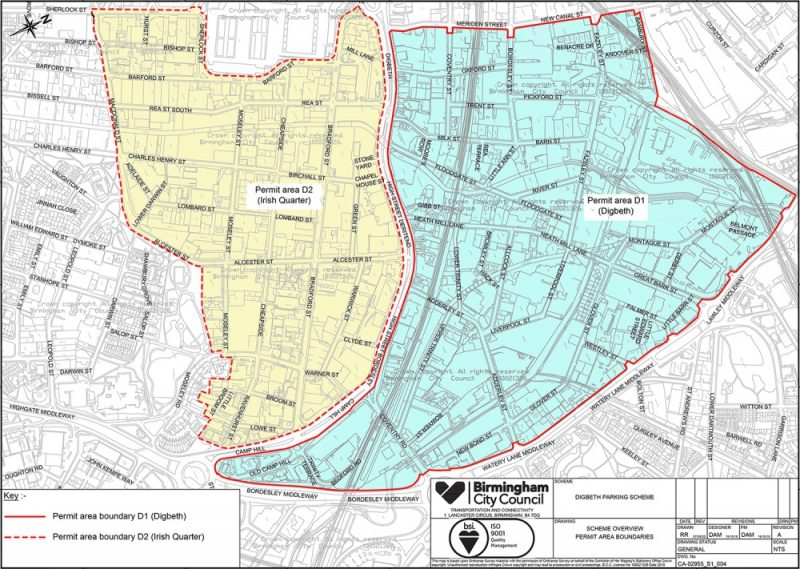 Birmingham Digbeth Restricted Parking Zone scheme boundaries for D1 (Digbeth) and D2 (Irish Quarter)