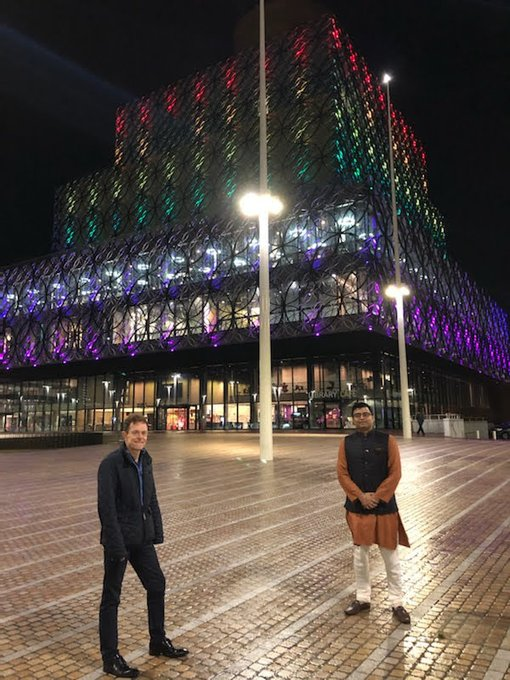 Library of Birmingham lit up for Diwali 2020 with West Midlands Mayor Andy Street
